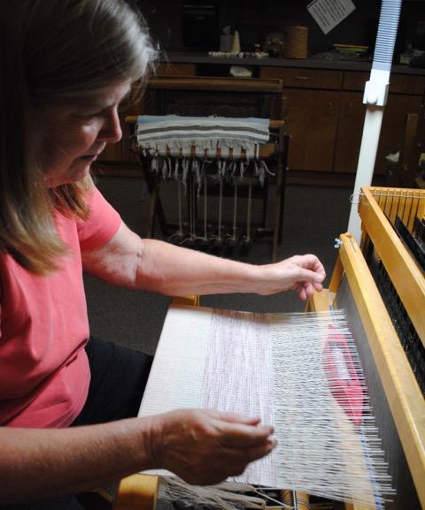 Rhonda Weaving On The Baby Mac Loom