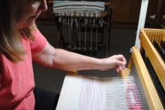 Rhonda Weaving On The Baby Mac Loom