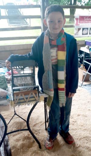 Blue Ridge Fiber Fest Alex wove this scarf